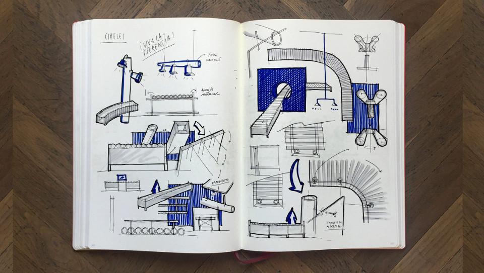 Bocetos y planos de la muestra